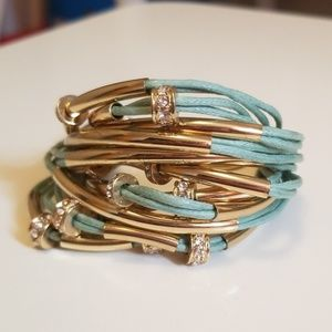 Jewelry - NWOT Gold, Crystal & Teal Cord Bracelet